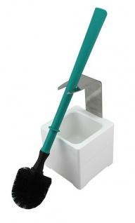 Mr. Sanitär Spezial 3tlg. WC-Garnitur Türkis, Wand- /Bodenhalter, 2x Borstenkopf