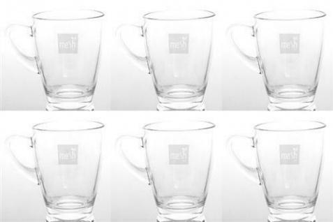 Mesh Teeglas mit Gravur 6 Stück, 280 ml Füllmenge, Glas, Geschirr, Set, Küche