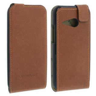 LEDER Flip Case für HTC ONE MINI 2 Antikbraun Handytasche Ledertasche Smartphone