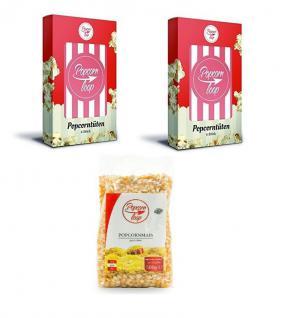 POPCORNLOOP Zubehör-Set: 12 x Original Popcorntüten und Mais (500g)!