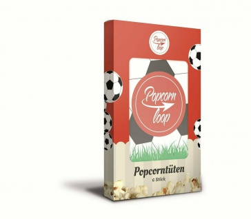POPCORNLOOP 6x Fußball Tüten 100 x 65 x 160 mm Popcorntüten Popcorn Portionierer