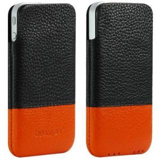 Für Apple Iphone 4/4S/S Handy ECHT LEDER Tasche/Case/Etui/Pouch Gutti Schw/Orang