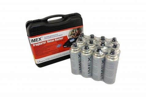 IMEX Camping Gaskocher Set Butan-Kocher Klein Tragekoffer mit 12 Gaskartuschen