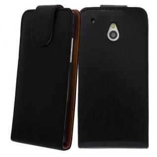 Für HTC One M4 MINI Schwarz - Kunstleder Tasche, Handytasche, Case, Hülle, Cover