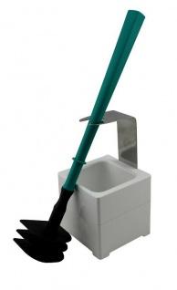 Mr. Sanitär Spezial 3 tlg. Toilettenbürste WC-Garnitur Türkis+ Wand-/Bodenhalter