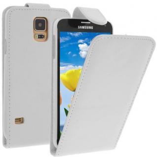 Für Samsung Galaxy S5 / i9600 Weiß Handytasche Tasche Hülle Etui Cover Schutz