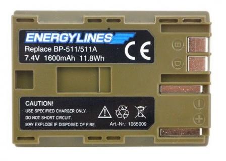 Akku accu battery für Canon BP-511/511A; BP-508; BP-511A; BP-512; BP-514 ENERGYLINES