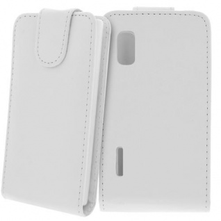 Für LG E610 Optimus L5 Handy Flip Case Tasche Hülle Schutz Weiss