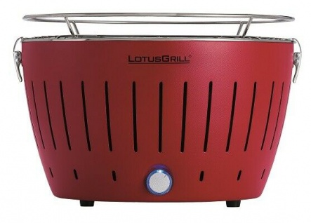 LotusGrill Feuerrot der raucharme Holzkohlegrill/Tischgrill farbenfroh rot