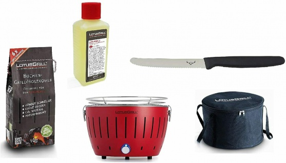 LotusGrill Starter-Set Kompakt Feuerrot je1x Kohle 1kg, Brennpaste 200ml, Messer