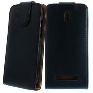 Für HTC Desire 500 Schwarz Handytasche Case Hülle Cover Etui Schutz Kunstleder N