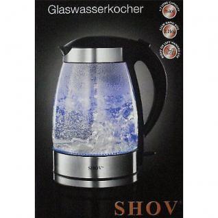 Design Luxus Wasserkocher aus Glas 1, 7L, 2200W, mit schicker LED Beleuchtung