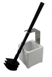 Mr. Sanitär Spezial 3 tlg. Toilettenbürste WC-Garnitur Grau + Wand- /Bodenhalter