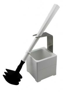 Mr. Sanitär Spezial 3 tlg. Toilettenbürste WC-Garnitur Weiß + Wand- /Bodenhalter