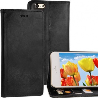 Bookstyle Case für Apple iPhone 6 PLUS schwarz Kartenfach Magnetverschluss NEU!!