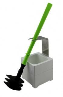Mr. Sanitär Spezial 3 tlg. Toilettenbürste WC-Garnitur Grün + Wand- /Bodenhalter