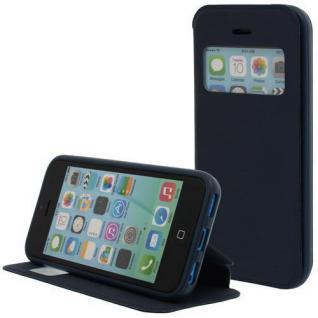 Kunstleder Handytasche für Apple iPhone 5C Blau mit Fenster, Display Klappe, Dün