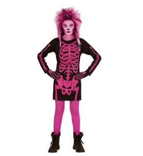 MKS Halloween Halloweenverkleidung Fasching Partykostüm Pinker Skelett Gr.140 cm