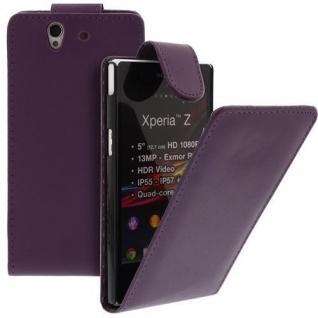 Für Sony Xperia Z Handy Flip Case Tasche Hülle Schutz Lila