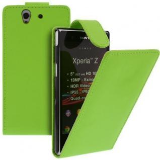 Für Sony Xperia Z Handy Flip Case Tasche Hülle Schutz Grün