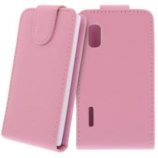 Für LG E610 Optimus L5 Handy Flip Case Tasche Hülle Schutz Pink