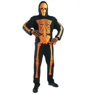 Halloween Halloweenverkleidung Fasching Partykostüm Neon Skelett Orange 158 cm