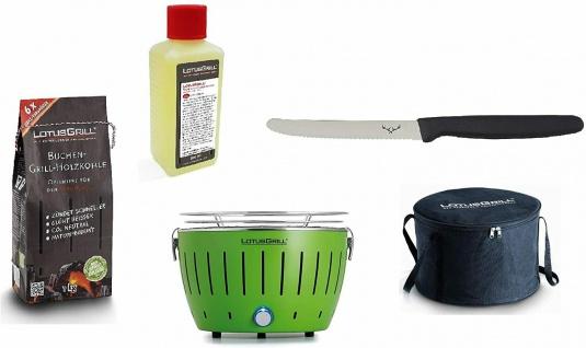 LotusGrill Starter-Set Kompakt Limettengrün Kohle 1kg, Brennpaste 200ml, Messer