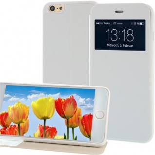 Handytasche für Apple iPhone 6 PLUS mit Fenster, Displayklappe Weiss, Case Cover