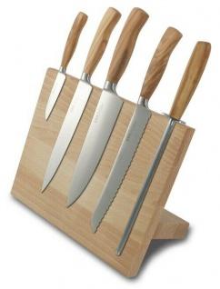 BRK 6-TLG Messerset mit Magnetschräge STARLINE, Made in Solingen Olivenholzgriff