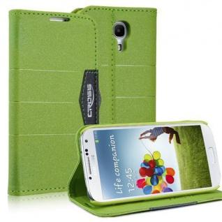 Bookstyle Case für Samsung Galaxy S4 mini i9190 Anthrazit Grün Cover Etui Schutz