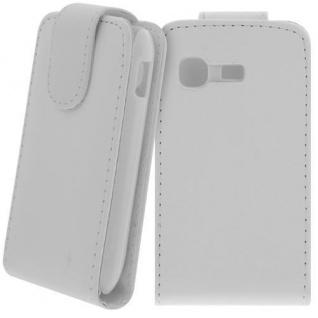 Für Samsung Galaxy Pocket GT-S5300 Handy Flip Case Tasche Hülle Schutz Weiss