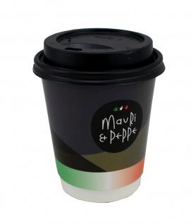 Mauri & Peppe Coffee to Go Pappbecher mit Deckel 0, 2l - 25 Stück