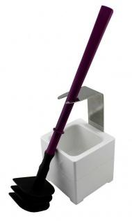 Mr. Sanitär Spezial 3 tlg. Toilettenbürste WC-Garnitur Lila + Wand- /Bodenhalter