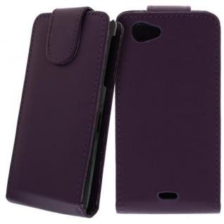 Für Sony Xperia J Handy Flip Case Tasche Hülle Schutz Lila