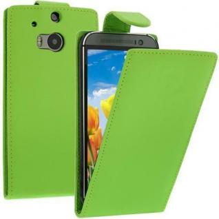 Flip Case Handytasche für HTC M8 in GRÜN - Smartphonetasche Case Cover Tasche