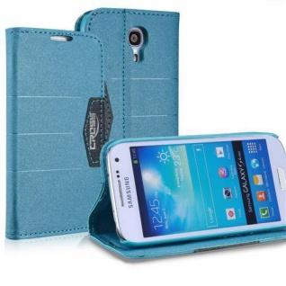 Bookstyle Case für Samsung Galaxy S4 mini i9190 Anthrazit Blau Magnetverschluss