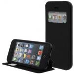 Kunstleder Handytasche für Apple iPhone 5C Schwarz mit Fenster, Display Klappe, D