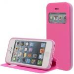 Kunstleder Handytasche für Apple iPhone SE 5S / 5G Pink mit Fenster, Displayklapp