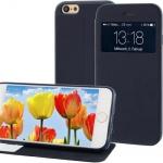 Handytasche für Apple iPhone 6 mit Fenster + Displayklappe Blau, Slim Etui Cover
