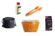 LotusGrill Starter-Set Mandarinenornage 1x Kohle 1kg 1x Brennpaste 200ml 1xZange