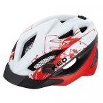 KED Fahrradhelm Gekko S(49-56cm), White Red Matt, maxSHELL, Made in Germany