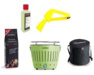 LotusGrill Starter-Set Limettengrün 1x Kohle 1kg, 1x Brennpaste 200ml, 1x Zange