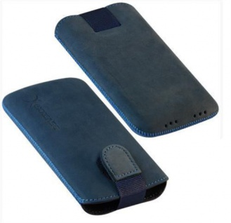 Für Handy ECHT LEDER Tasche / Case / Etui Nubuk Blau