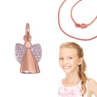 Kinder und Frauen Schutz Engel Anhänger Echt Silber 925 Rosè Gold mit Kette