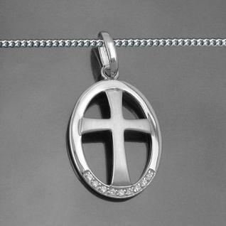 Design Kreuz Anhänger im Rahmen zur Taufe Kommunion Firmung mit Kette Silber 925 - Vorschau 2