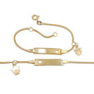 Weiß Gold 585 Baby Taufe Schutz Engel Kreuz Ident Armband