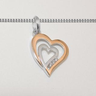 Frauen 2 Herzen Anhänger Herz in Herz Zirkonia Rosè Gold mit Kette Silber 925 - Vorschau 2