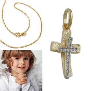 Zirkonia Kreuz Anhänger zur Taufe Kommunion mit Kette Echt Silber 925 bicolor