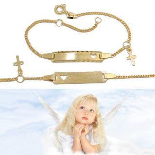 Baby Taufe Echt Gold 333 Herz Ident Armband mit Kreuz und Gravur von Name Datum