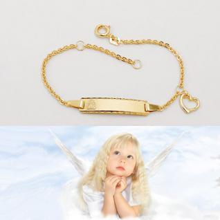 Baby Taufe Engel Armband Herz Gott schütze Dich Echt Gold 333 mit Namen Gravur